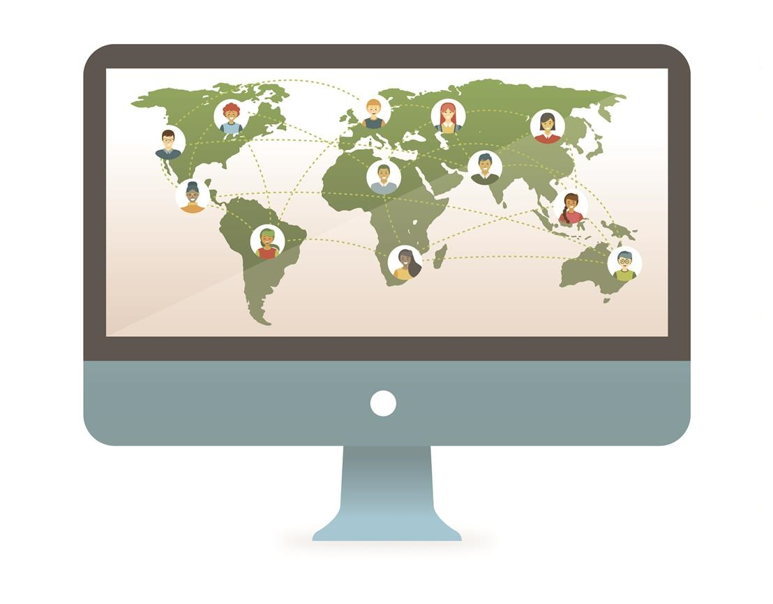 Illustration of a computer screen showing a map with people on it.