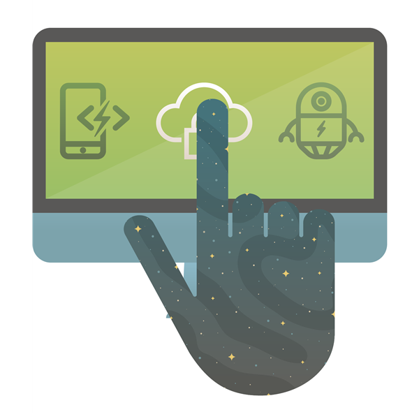 Illustration showing a finger on a touch screen.