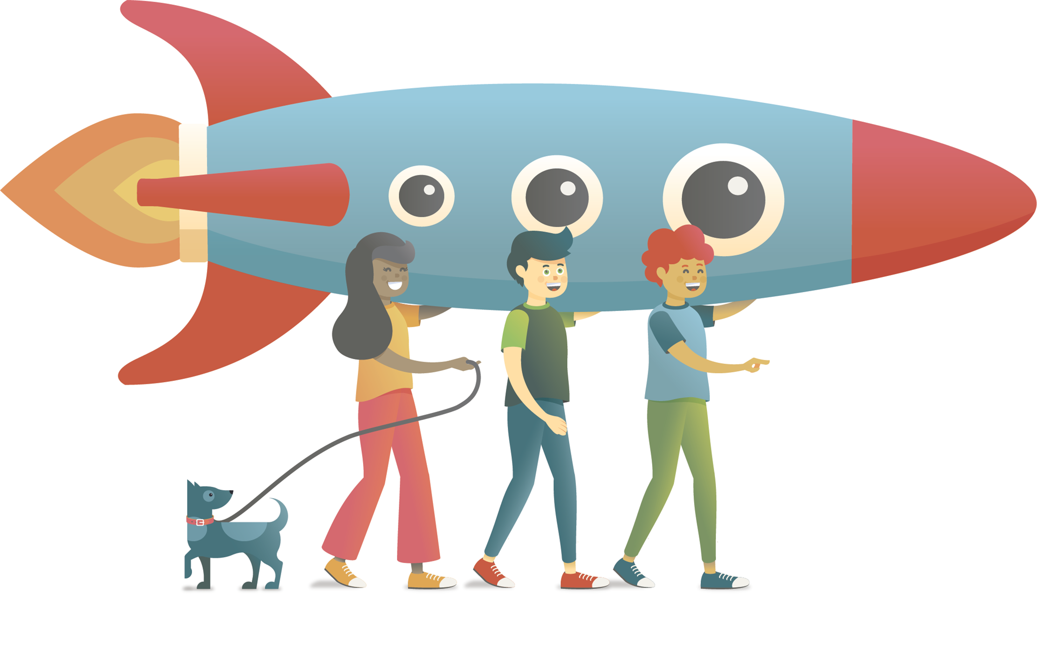 Illustration of three kids with a dog carrying a big rocket.