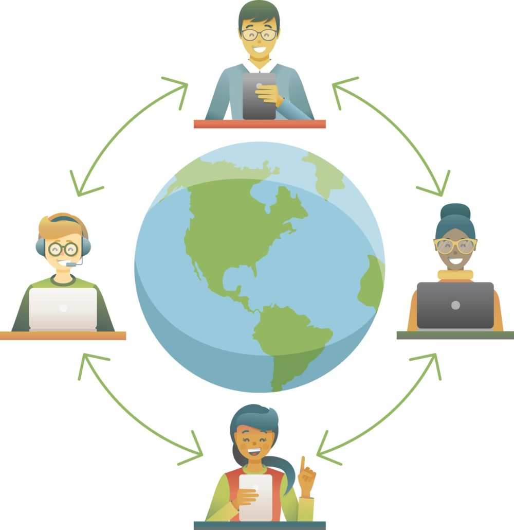 Illustration showing people working together from all across the world.
