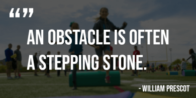 Quote depicting the power of STEM activities such as obstacle courses for the development of children.