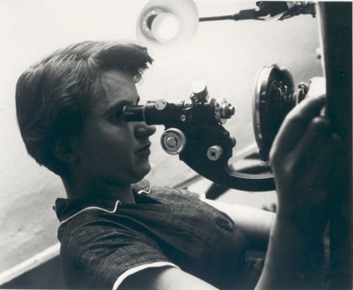 Rosalind Franklin with microscope