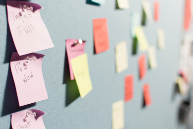 color coded post its to help organization skills